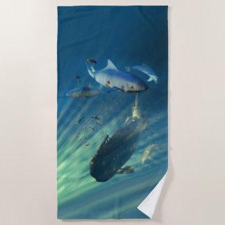 潜水艦および鮫のビーチタオル ビーチタオル