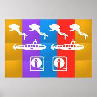 潜水艦、灯台およびダイバー ポスター