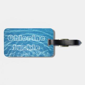 澄んでクールで青い水生プール水水泳 ラゲッジタグ