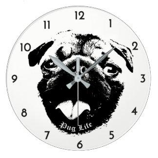澄んで及びシンプルなパグの生命スマイル ラージ壁時計