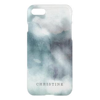 澄んなモノグラムの名前の水彩画のヒップスターの青いnautic iPhone 7ケース