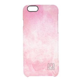 澄んなモノグラムの水彩画のヒップスターのパステル調ピンク クリアiPhone 6/6Sケース