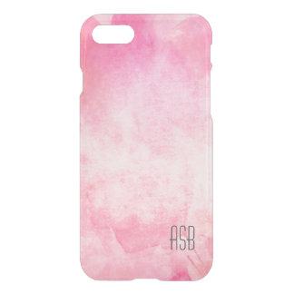 澄んなモノグラムの水彩画のヒップスターのパステル調ピンク iPhone 8/7 ケース