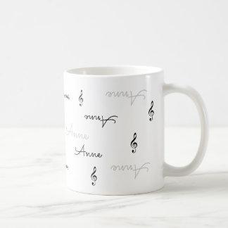 澄んな一流のタイポグラフィ + 音楽ト音記号 コーヒーマグカップ