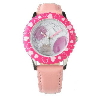 澄んな球のピンクのハートの腕時計の女の子のペットハムスター 腕時計