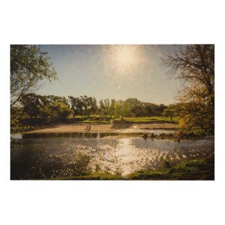 澄んな空が付いている川の銀行の概観 ウッドウォールアート