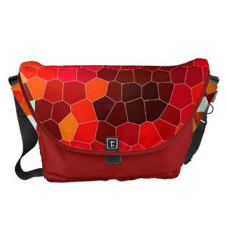 激しい赤のステンドグラス メッセンジャーバッグ