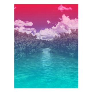 激賞の恋人の鍵のトリップ(幻覚体験)のようななピンクの青い海 ポストカード
