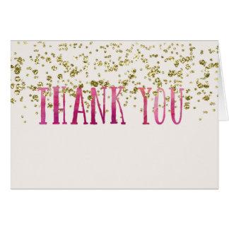 濃いピンクおよび模造のな金ゴールドは感謝していしています カード