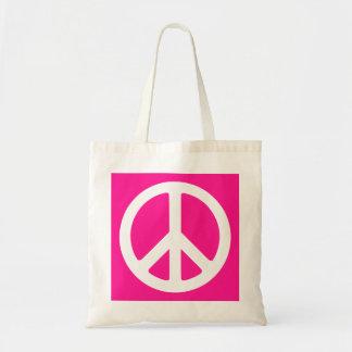 濃いピンクおよび白いピースマーク トートバッグ