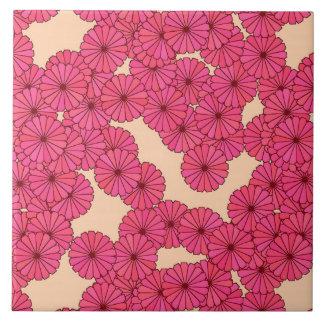 濃いピンクのアールデコの花模様-およびモモ タイル