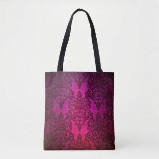 濃いピンクの紫色の空想の花柄のダマスク織 トートバッグ