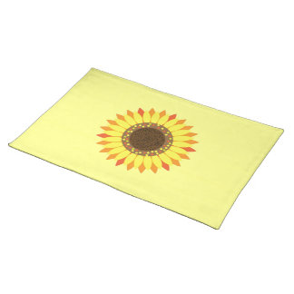 濃い黄色の背景のヒマワリ ランチョンマット
