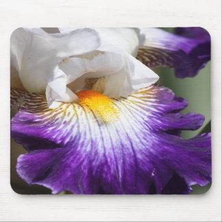 濃紫色および白いアイリスマウスパッド マウスパッド