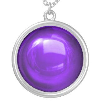 濃紫色のつまらないもののネックレス シルバープレートネックレス