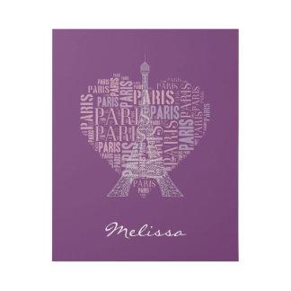 濃紫色のエッフェル塔及び銘刻文字パリ| ギャラリーラップ