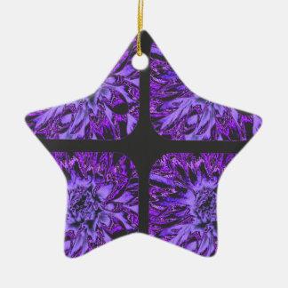 濃紫色のコラージュのダリアの花模様 セラミックオーナメント