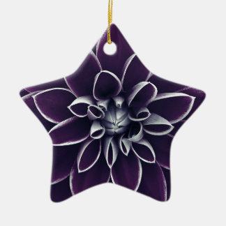 濃紫色のダリアの花 陶器製星型オーナメント