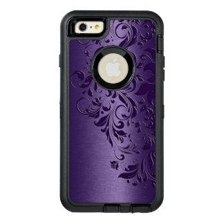 濃紫色の金属背景及び花柄のレース オッターボックスディフェンダーiPhoneケース