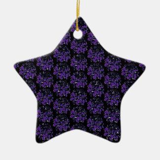 濃紫色の黒いダリアの花模様 陶器製星型オーナメント