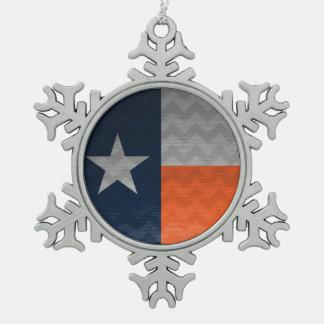 濃紺およびオレンジのテキサス州の旗によってブラシをかけられる金属Chev スノーフレークピューターオーナメント