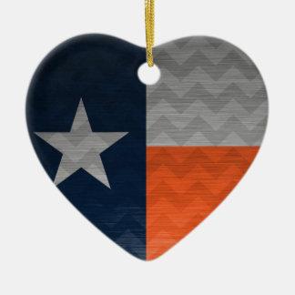 濃紺およびオレンジのテキサス州の旗によってブラシをかけられる金属Chev セラミックオーナメント