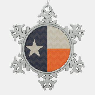 濃紺およびオレンジのテキサス州の旗の生地シェブロン スノーフレークピューターオーナメント