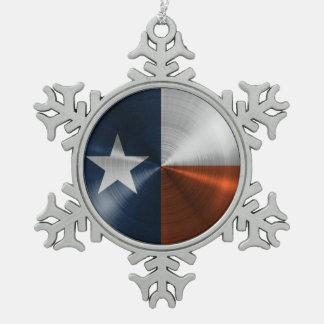濃紺およびオレンジのテキサス州の旗 スノーフレークピューターオーナメント