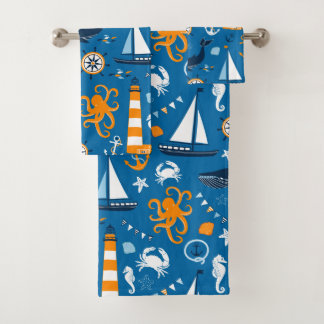 濃紺およびオレンジ航海のな場面パターン子供 バスタオルセット