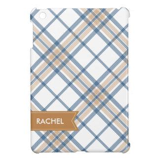 濃紺およびカラメルの格子縞のモノグラムのiPad iPad Mini カバー