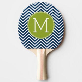 濃紺およびライムグリーンのシェブロンのカスタムのモノグラム 卓球ラケット