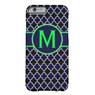 濃紺およびライムグリーンのQuatrefoilのモノグラムの場合 iPhone 6 ベアリーゼアケース