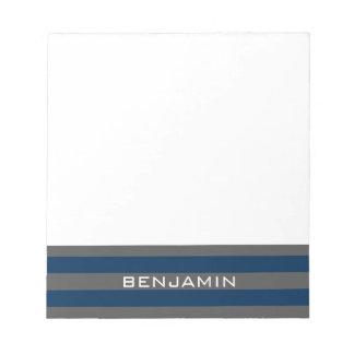 濃紺および灰色のラグビーは名前をカスタムすると縞で飾ります ノートパッド