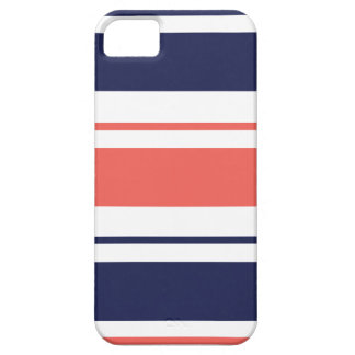 濃紺および珊瑚のストライプ iPhone SE/5/5s ケース