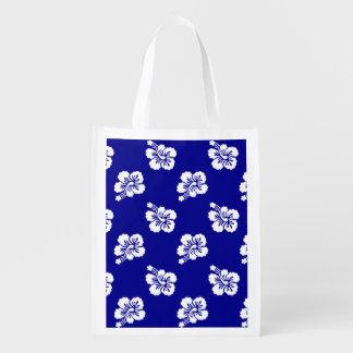 濃紺および白いハワイの花パターン エコバッグ