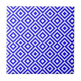 濃紺および白い四角001のパターン タイル