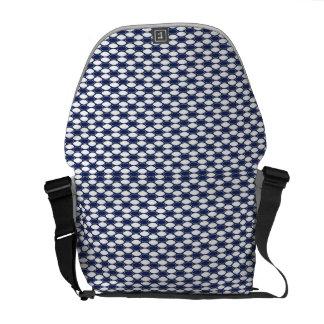 濃紺および白い楕円形パターン メッセンジャーバッグ