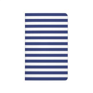 濃紺および白のストライプなパターン ポケットジャーナル