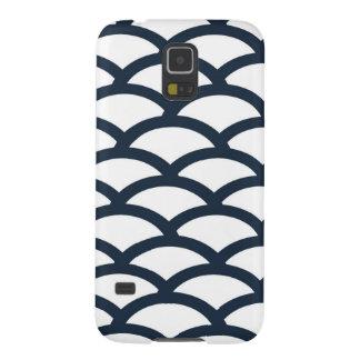 濃紺および白の帆立貝パターン電話箱 GALAXY S5 ケース