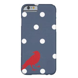 濃紺および白の水玉模様の赤い鳥の電話箱 BARELY THERE iPhone 6 ケース