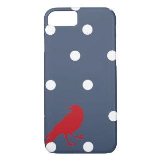 濃紺および白の水玉模様の赤い鳥の電話箱 iPhone 8/7ケース