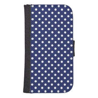 濃紺および白の水玉模様パターン 手帳 GALAXY S4ケース