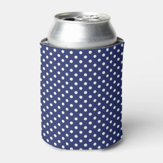 濃紺および白の水玉模様パターン 缶クーラー