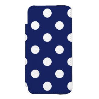 濃紺および白の水玉模様パターン INCIPIO WATSON™ iPhone 5 ウォレット ケース