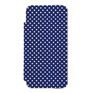 濃紺および白の水玉模様パターン INCIPIO WATSON™ iPhone 5 財布 ケース