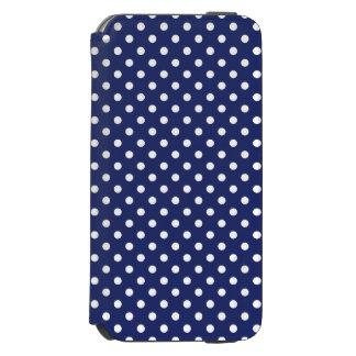 濃紺および白の水玉模様パターン INCIPIO WATSON™ iPhone 6 財布ケース
