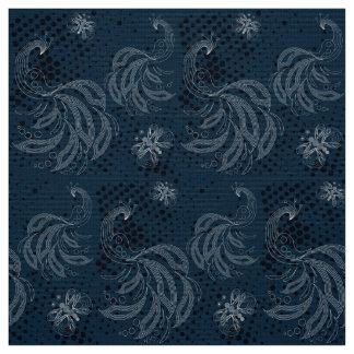 濃紺および白の蝶、孔雀パターン ファブリック