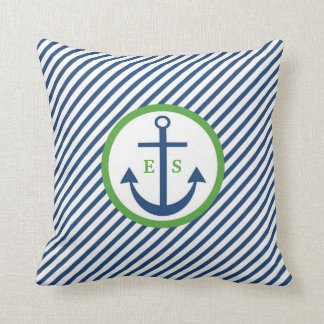 濃紺および緑のいかりのモノグラムの枕 クッション