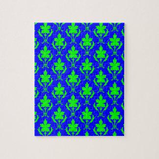 濃紺および薄緑の華美な壁紙パターン ジグソーパズル