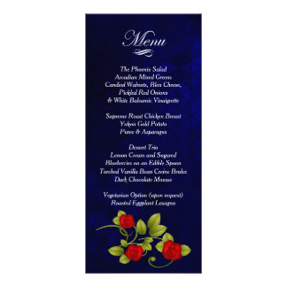 濃紺および赤いバラの結婚式 ラックカード
